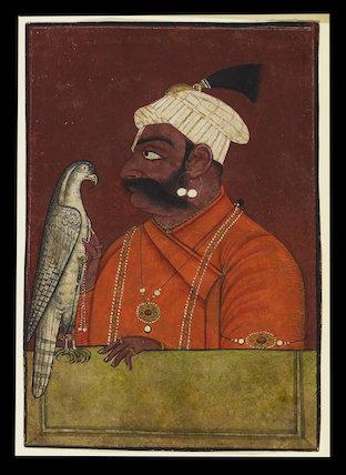 Maharaja Suraj Mal with a hawk