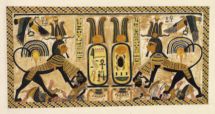 Tutankhamun as sphinx trampling enemies, painting