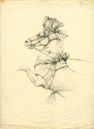 Study of a horse in ancient chariot-harness