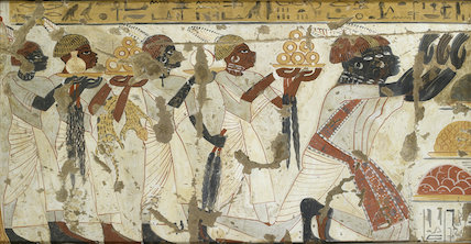 Copy of wall painting, Nubians with tribute