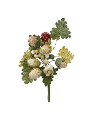 Needlework favour or love token: Strawberries