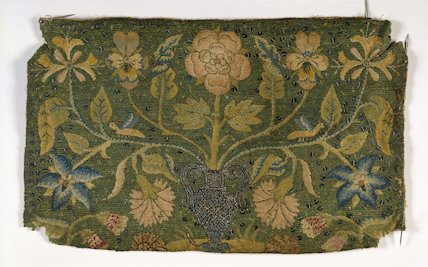 Embroidered panel with vase and flowers