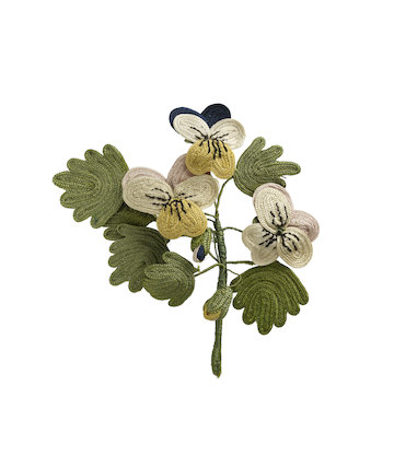 Needlework favour or love token: Pansies