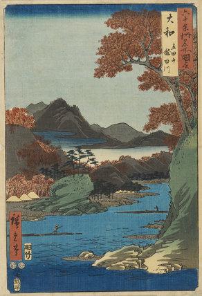 Woodblock print - Yamato Province, Tatsuta River & Hills. No.2