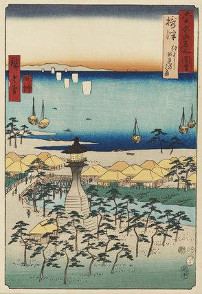 Woodblock print - Settsu Province. Demi beach & the Sumiyoshi Lighthouse. No.5