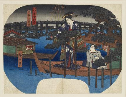 Woodblock print - Edo Meisho, Nenju Gyoji, Ryogoku Kawa-biraki
