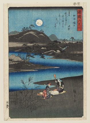 Woodblock print - The Kimuta Tamo River, Province of Setisu.