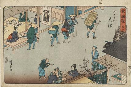 Woodblock print - Otsu. Street scene with sellers of Otsu-e, & importunate inn-keepers.