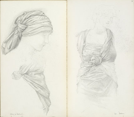 'Sketchbook with figure and drapery studies'