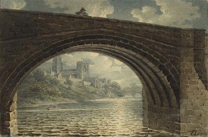 Durham Cathedral seen through an Arch of Ralph Flambard's Bridge