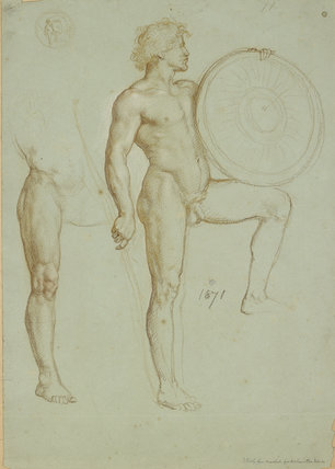 Study of a Man holding a Spear and and a Shield, and a Study of a Leg