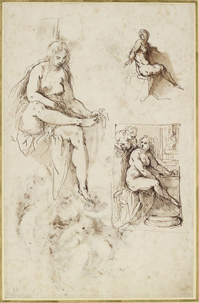 Recto: Studies for a Bathsheba, a Holy Family, etc. Verso: Studies for a Bathsheba, a Holy Family, etc