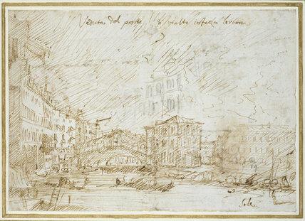 Recto: Venice: The Ponte di Rialto  Verso: Various Figure Studies
