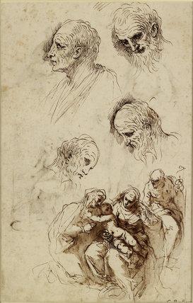 Verso: Studies for a Bathsheba, a Holy Family, etc.