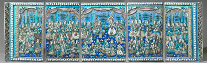 Set of five tiles depicting Yusuf appearing before the women of Memphis - the story of Yusuf and Zulaikha