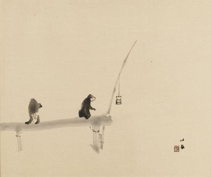 Two monkeys on a jetty