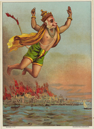 Hanuman, the monkey king, flying with his tail on fire over the burning palace of Ravana