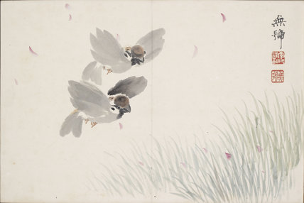 Two sparrows flying over a field
