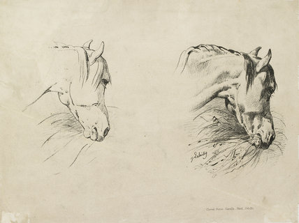 Verso: print of two horses' heads from a drawing manual
