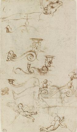 Verso: Five separate Studies for an Ornamental Pediment