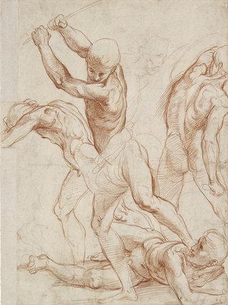 Recto: Combat of nude Men