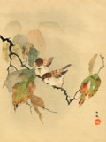 Sparrows with autumn leaves
