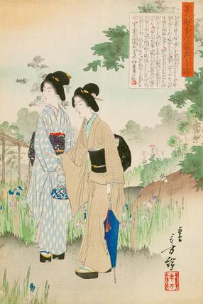 Beauties looking at the irises in Yoshino-en